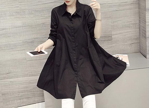 レディースデザインカラーシャツブラック・ワンサイズ