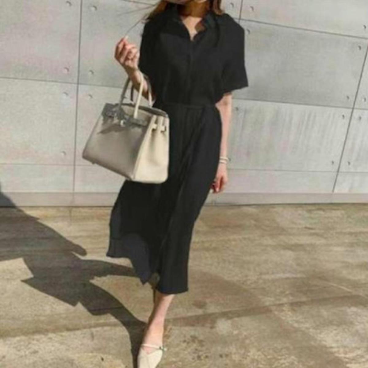 レディースシャツドレスワンピース・ブラック・ワンサイズ
