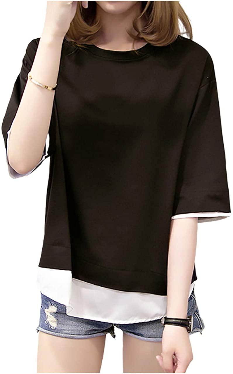 レディース レイヤード & BF スタイル 2カラーTシャツ・ブラック&W・ワンサイズ