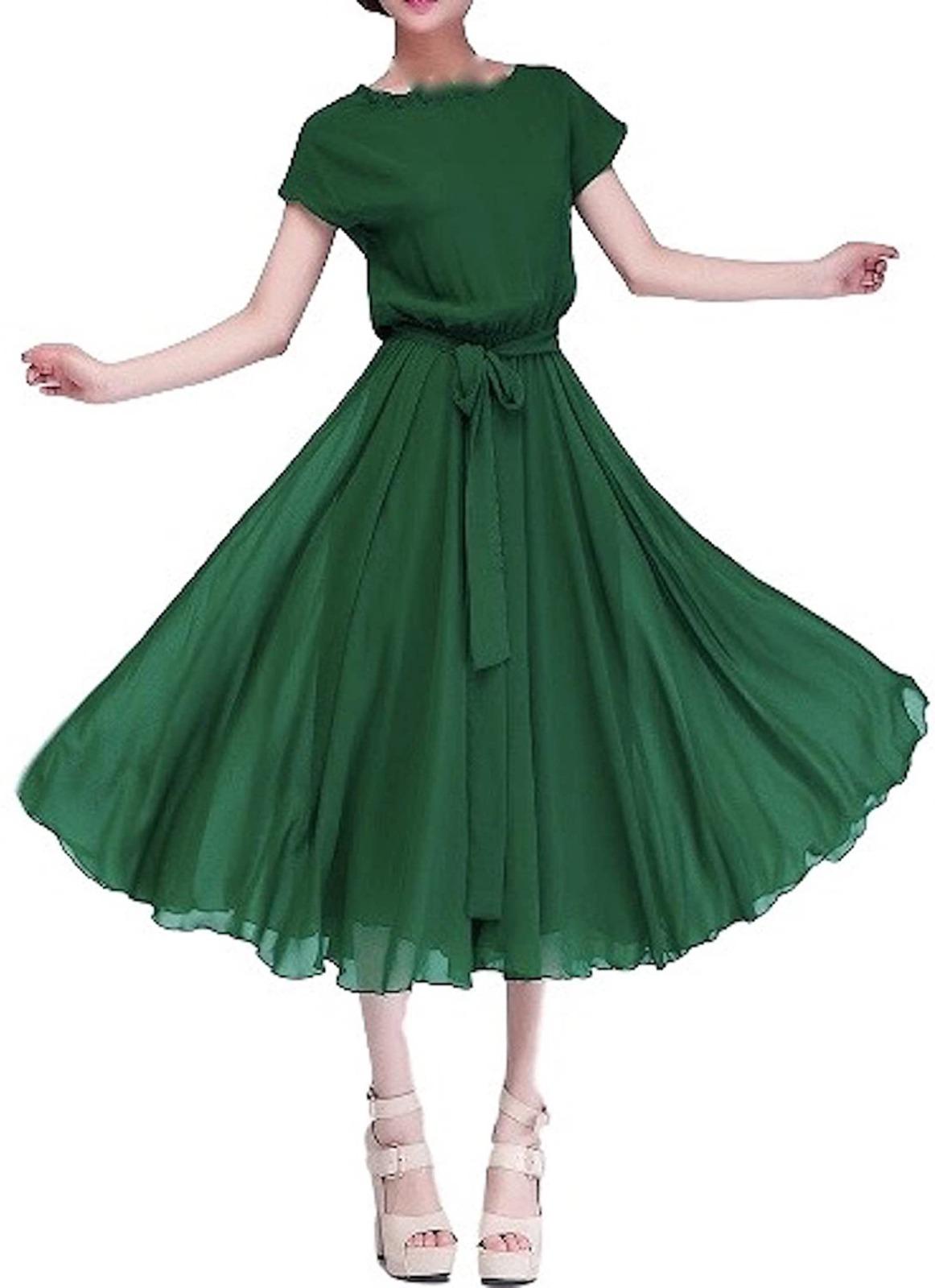レディース ファッション ワンピース パール・シフォン ロング ドレス・グリーン・2XL