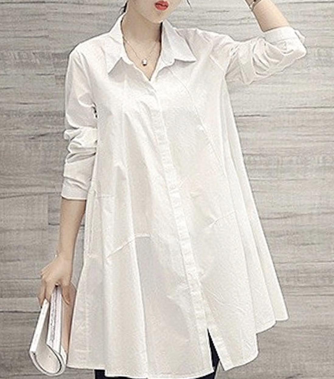 レディースデザインカラーシャツホワイト・ワンサイズ